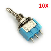 Wendao MTS-102 ON/ON SPDT AC 125V 6A 3 Pins Toggle Rocker Switch 10pcs