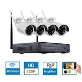 Hiseeu 4CH Sistema de circuito cerrado de televisión inalámbrica 960P NVR WIFI IP Bullet Cámara Sistema de seguridad doméstica Kit de vigilancia EU Plug