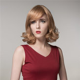 Virgin Remy Human Hair Wig Medium Long Elegant Side Bang Mono Top