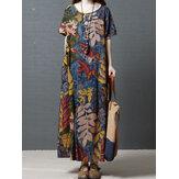 Mujer Tripulación Cuello Algodón floral vendimia Maxi Vestido