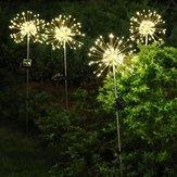 Alimentation solaire 8 Modes 120 LED Feu d'artifice Starburst Guirlande lumineuse Lampe de pelouse imperméable extérieure DC3V