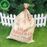 Hot Sale 1pc Santa Sacks  Drawstring Canvas Santa Sack Large Vintage Christmas Gift Bag