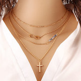 Trendy Crystal Gold Cross Necklace Sweet Irregular Clavicle Chain for Women