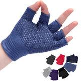 Women Non Slip Sporty Style Design Fingerless Yoga Gloves
