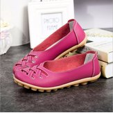 Large Size Colorful Slip On Hollow Out Round Toe Flat Loafers