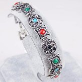 Bohemian Silver Ruby Bracelet Ancient Coin Shape Multicolor