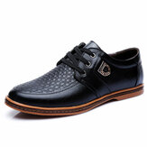 Large Size Men Casual Shoes Comfortable Breathable Lace-Up Leather Shoes