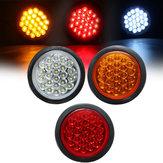24 LED Rojo Blanco Amarillo Redondo Cola Trasero Luz de freno Freno Lámpara Reflector para Camión Remolque Autobús barco