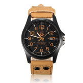 Men Casual PU Leather Band Date Sport Analog Quartz Wrist Watch