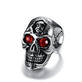 Hommesenacierinoxydablestrassrouge anneau Trendy Skull Head Men bijoux