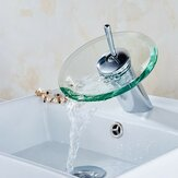 CocinadeestilomodernoCuartode baño Buque Cobre Grifo de grifo redondo para lavabo de bañera con cascada de vidrio