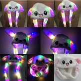 LED Light Rabbit Ear Hat Can Move Airbag Cap 60CM Electric Stuffed Plush Gift Valentines Dance Toy
