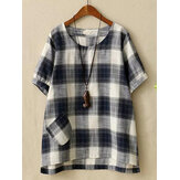 Casual Women Cotton Linen Plaid O-neck Short Sleeve Blouse