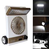 2en1SolarPowerUSB recargable al aire libre cámping Cool Fan Light Tent LED Lantern Cooler