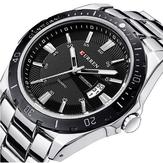 CURREN 8110 Argent Noir Auto Date Sport Bracelet en Acier Inoxydable Hommes Montre Bracelet