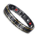 Bijoux de bracelet magnétiques de santé de titane de 316L noir pour les hommes