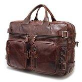 High-capacity Vintage Genuine Leather Men Bag  Laptop Bag