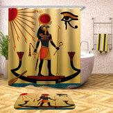 Rideauxdedouchedestyleégyptien imperméables avec 12pcs crochets de tapis de salle de bains tapis de jeu