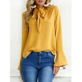 S-5XL Casual Women 6 Colors Tie Blouse