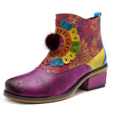 Original SOCOFY  Genuine Leather Hand-colored Boots