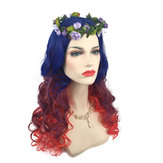 Women Cosplay Wigs Gradient Wavy Long Hair Full Halloween Party Wig
