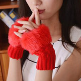 Women Winter Warm Knitted Thicken Fingerless Gloves Rabbit artificial Cabelo Half Finger Sleeve