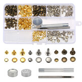135 pcs Single Cap Rivets Metal Leather Rivets with 3 Pieces Tool kits for Rivets Replacemen