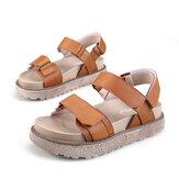 FemmesSandalesàRomePrintempsAutomneCuirCuirrond Plat Plate-forme Chaussures Confortable Antidérapant