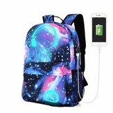 18L Luminous USB  Anti-theft Backpack Waterproof Laptop School Bag Camping Travel