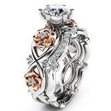 Zircon Inlaid Rose Gold Flower Heart Platinum Ring Set