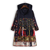 Ethnic Print Frog Button Folk Style Irregular Hooded Coats