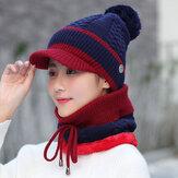 Vintage Winter Windproof Plus Velvet Knit Hat Scarf Beanie