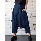 Casual Women Denim Pocket Elastic Waist Drop Crotch Harem Pants