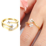 Elegant Adjustable Finger Ring Diamond Stars 18K Gold Plated