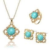 JASSY®EnsembledeBijoux Elégant Turquoise Plaqué d'or 18K Collier Bague Boucles d'oreilles Pour Femmes
