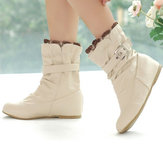 US Size 5-13 Slip On Round Toe Ankle Short Casual Boots For Women