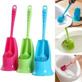 Original AsideroconmangocilíndricoCepilloy limpieza de plástico de base Cepillo Accesorio portátil largo de doble cara con accesorios Cuarto de baño