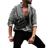 Mens Retro Ethnic Style Printing Fashionable Beach Shirts