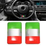 Pair Aluminium Italy Flag Badge Emblem Car Sticker Self-adhesive Labeling Decal Decoration
