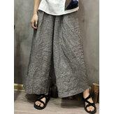 Pantalon large à rayures élastiques à la taille