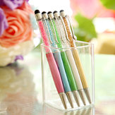 3Pcs White Crystal Imitated Diamond Capacitive Screen 2 in 1 Touch Writting School Office Stationery Ballpen