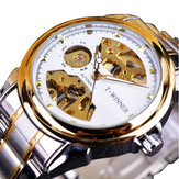 WINNER 378 Reloj automático Mecánico Reloj Classic Correa de acero inoxidable para hombres