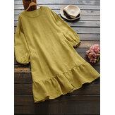 Robe décontractée en coton de couleur unie pour femme