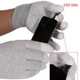 1 par de guantes seguros ESD Anti-derrapante anti-derrapante dedo superior PU cubierto para reparaciones electrónicas