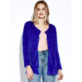 Women Plush Outwear Long Sleeve Fluffy Faux Fur Coats