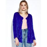 Women Plush Outwear Long Sleeve Fluffy Faux Fur Coats