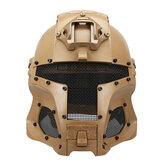 Original WoSporT Escudo de casco de malla de acero de cara completa Guerrero de hierro medieval táctico al aire libre Retro Moto