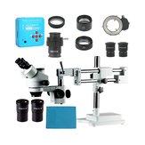 Original 3.5X 7X 45X 90X Soporte de doble brazo Zoom Simul Focal Trinocular Microscopio estéreo + 21MP Cámara Microscopio para reparación industrial de PCB