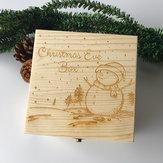 Original Decoración de madera juguetes regalo Caja navidad muñeco de nieve pintura