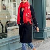 Women Winter Cashmere-Like Plum Embroidery Tassel Scarf
